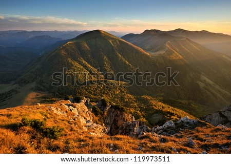 Fall mountain landscape in the evening, Slovakia - stock photo