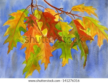 Fall Oak Leaves with Blue Background.  Watercolor painting of orange and yellow oak leaves with a blue and gray background