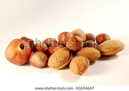 Fall season fruits: hazelnuts and almonds