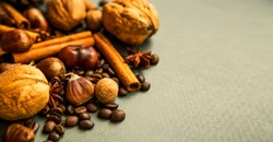 Fall spices and nuts with cinnamon sticks, nutmeg, coffee beans, anise, walnuts and chestnuts