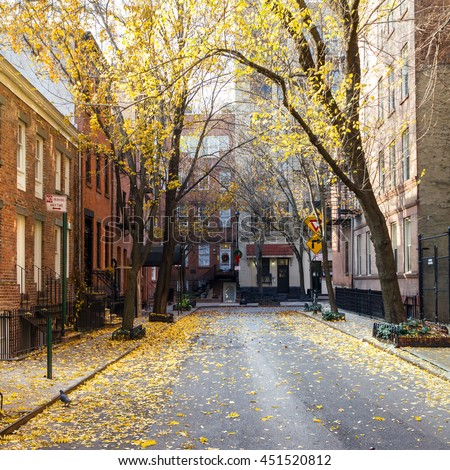 Fall street scene in the historic Greenwich Village neighborhood of Manhattan, New York City