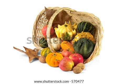 Fall thanksgiving basket - stock photo