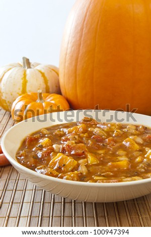 Fall time stew of pumpkin, tomatoes, beans and other vegetables
