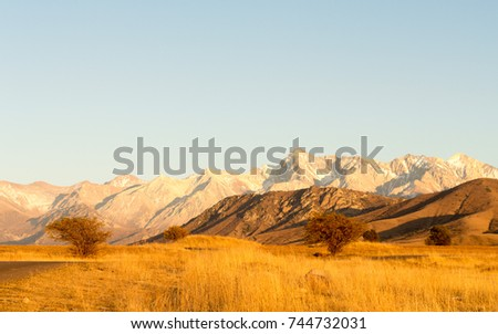 Fall time. Wonderful landscape view to mountains - Shutterstock ID 744732031