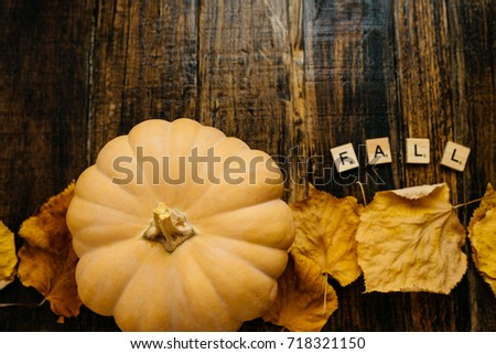 Fall Wooden Blocks Against A Rustic Wood Background With Pumpkins And Autumn Leaves 718321150 Happy Thanksgiving