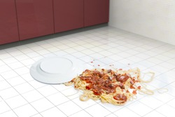 Fallen dish of pasta