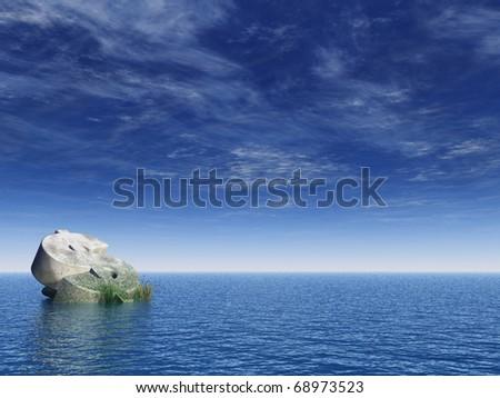 fallen dollar monument at the ocean - 3d illustration