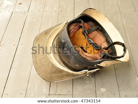 Fallen Firefighter's Helmet - stock photo