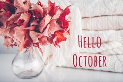 Fallen leaves in a vase with pile of white knitted woolen clothes with Hello October wording. Autumn, fall, beautiful nature , cozy home concept. Close up