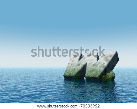 fallen letter w monument at water - 3d illustration