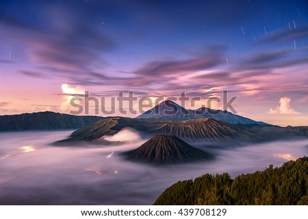 Fallen stars with wonderful sky at sunrise over Mount. Bromo at Bromo tengger semeru national park, East Java, Indonesia #439708129