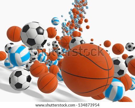 Falling balls.  3D rendered illustration.