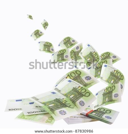 Falling banknotes 100 euro