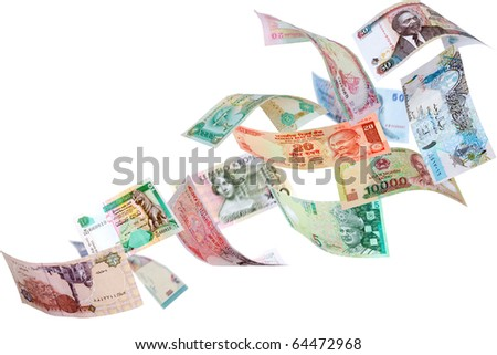 Falling Banknotes from different countries, isolated on white background