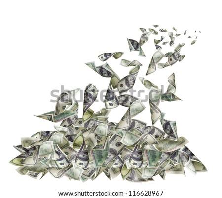Falling banknotes of 100 dollars
