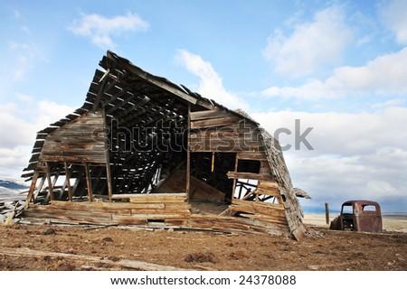 Falling Barn in Montana