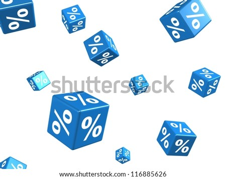 falling blue cubes with percent signs on white background