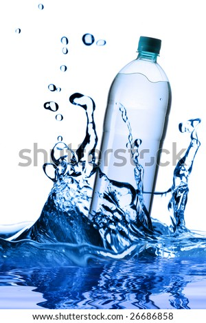 Falling bottle of pure water isolated over white background