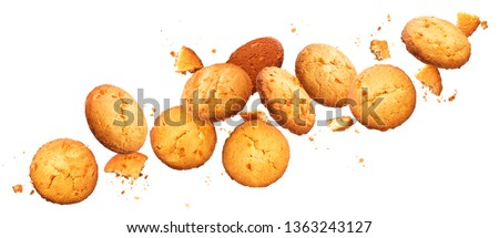 Falling broken chip cookies isolated on white background with clipping path, flying biscuits collection