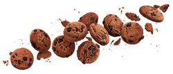 Falling broken chocolate chip cookies isolated on white background with clipping path, flying biscuits collection