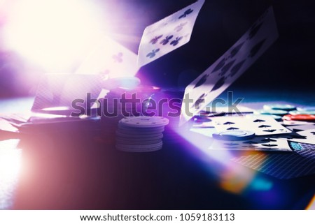 Falling cards and chips casino with back light