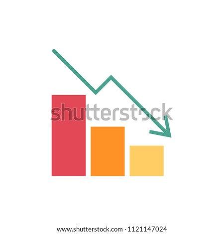 Falling chart flat icon on white