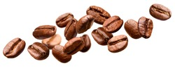 Falling coffee beans isolated on white background with clipping path
