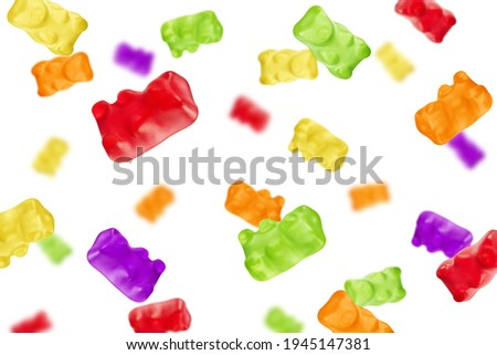 Falling Colorful jelly gummy bear, isolated on white background, selective focus Stock photo ©