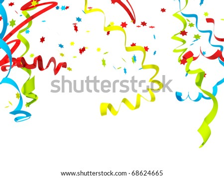 Falling confetti isolated on white - stock photo