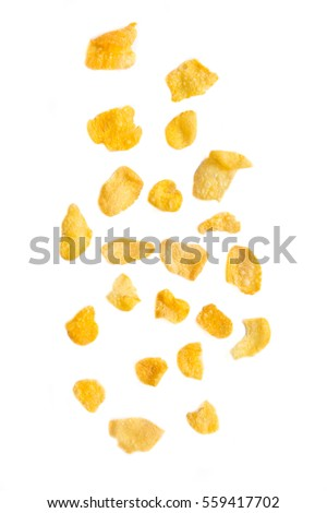 Falling corn flakes isolated on white background #559417702