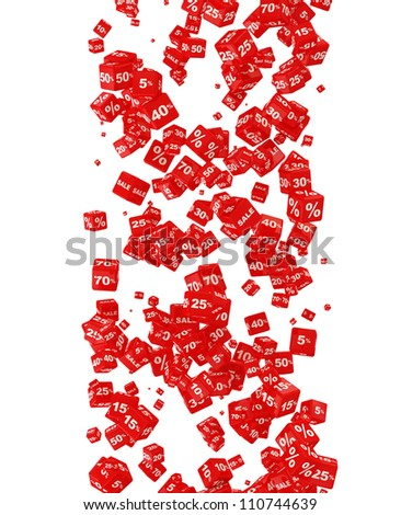 Falling Discount Cubes isolated on white background