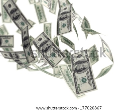 Falling money isolated on white background