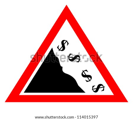 Falling dollar currency concept sign isolated on white background - stock photo