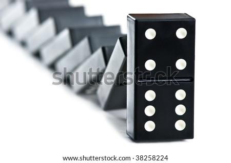 falling domino brick close up