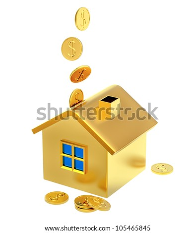 falling down dollar coins into a piggy bank in the form of a gilded house as a symbol of the accumulation