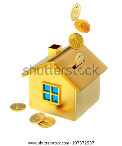 falling down euro coins into a piggy bank in the form of a gilded house as a symbol of the accumulation