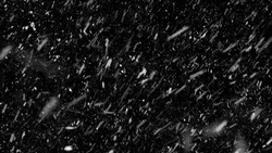 Falling down real snowflakes, heavy snow, snowstorm weather, shot on black background, matte, wide angle, isolated, perfect for digital composition, post-production.