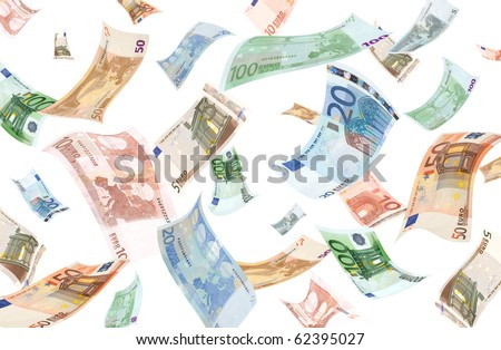 Falling euros on white background