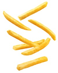 Falling french fries, potato fry isolated on white background, clipping path, full depth of field