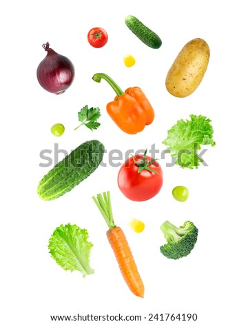 Falling fresh vegetables on white background #241764190