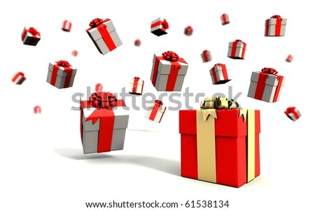 Falling Gift boxes on a white background
