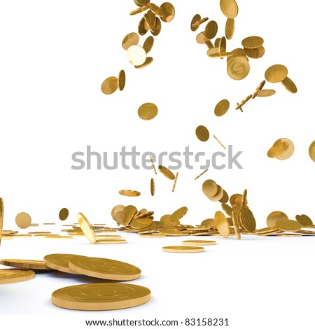 Falling gold chinks on a white background