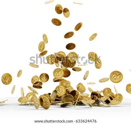 Photo of Falling Gold Coins Isolated on white background