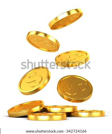 Falling gold coins on a white background