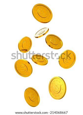 Falling golden coins isolated on white background.