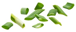 Falling green onion slices, fresh cut chives isolated on white background with clipping path