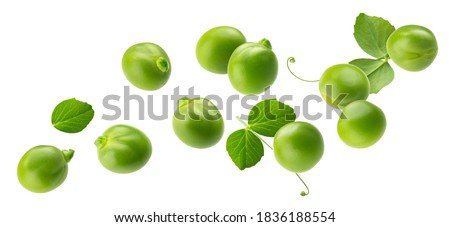 Falling green peas isolated on white background with clipping path Stockfoto ©