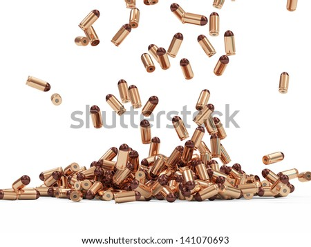 Falling Gun Bullets on white background