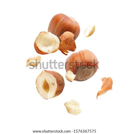 Falling hazelnuts on white background