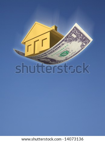 FALLING HOME PRICES A golden house falling from the sky on a dollar bill, against blue sky. Symbol of falling home prices, investment risk, or a downturn in the housing market. 3D photo illustration